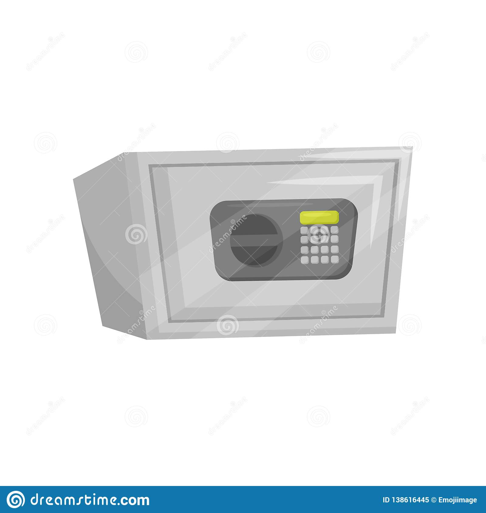 Steel Safe With Button Keypad Small Strong Cabinet With Electronic Code Lock Flat Vector Design Stock Vector Illustration Of Illustration Finance 138616445