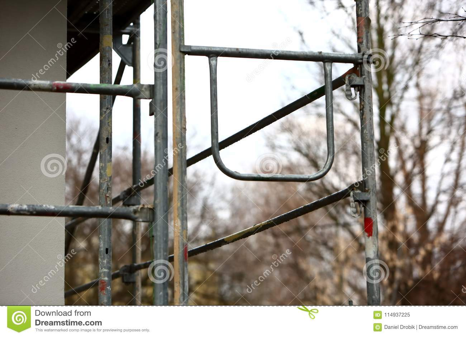 Steel scaffolding used for façade renovation works.