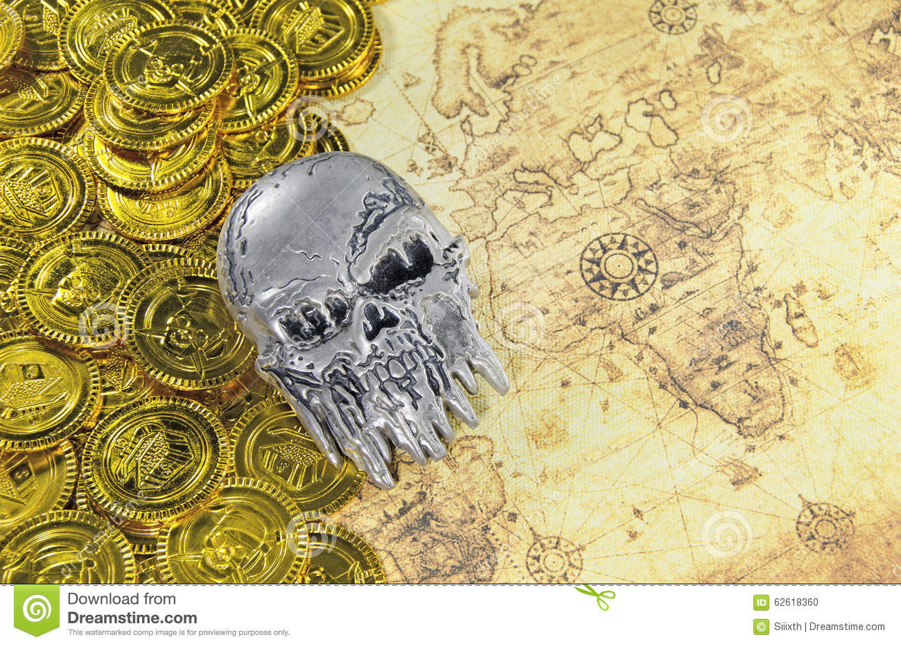 Pirate World Map.Steel Skull And Pirate Golden Coin On A Old World Map Stock Photo