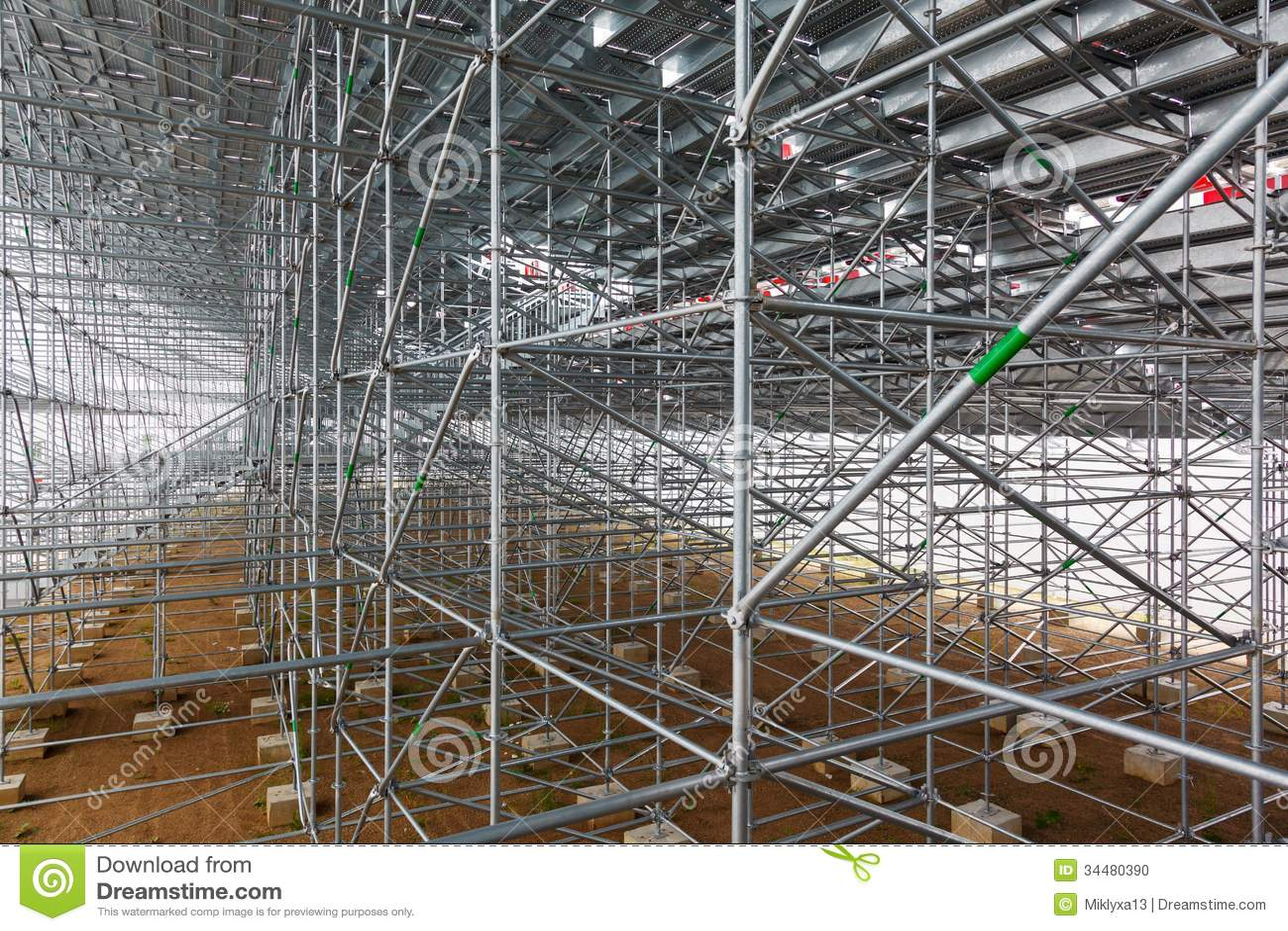 Construction Scaffolding Design : Steel structure of construction scaffolding stock photo