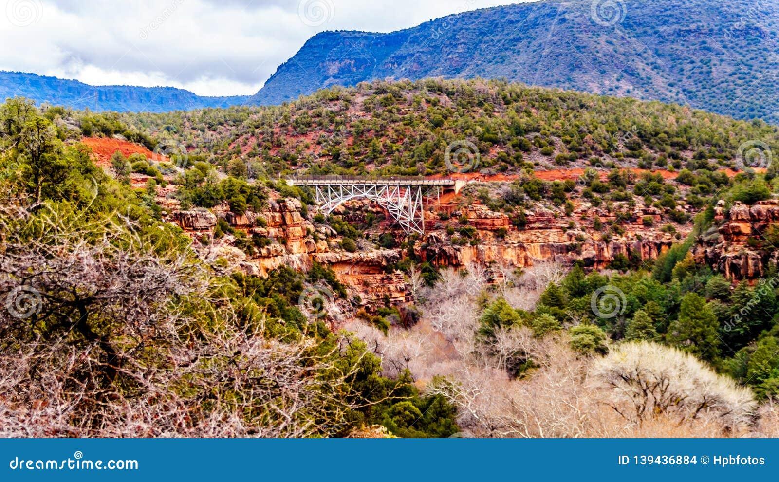 The steel structure of Midgely Bridge on Arizona SR89A between Sedona and Flagstaff over Wilson Canyon at Oak Creek Canyon