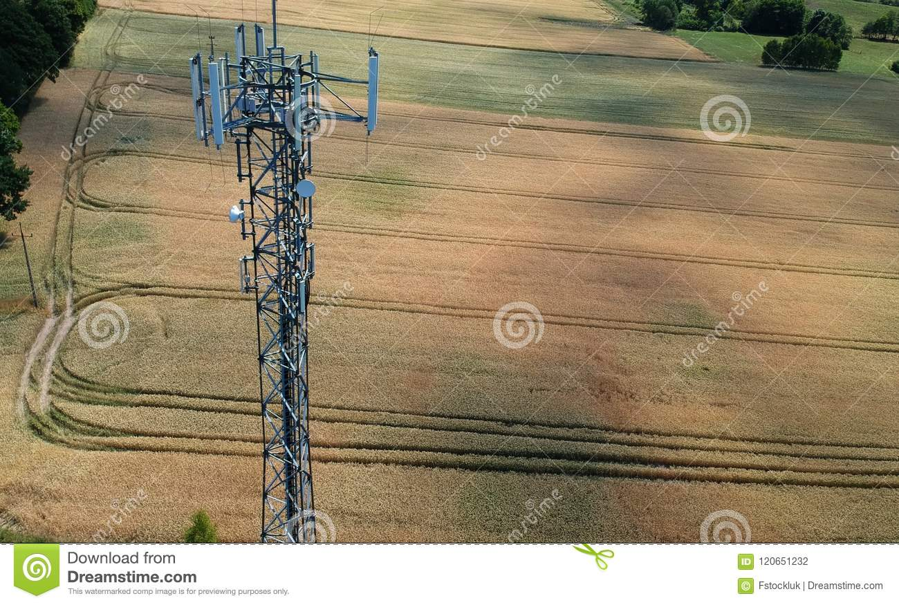 Steel telecommunication tower in the midle of wheat field, aerial view