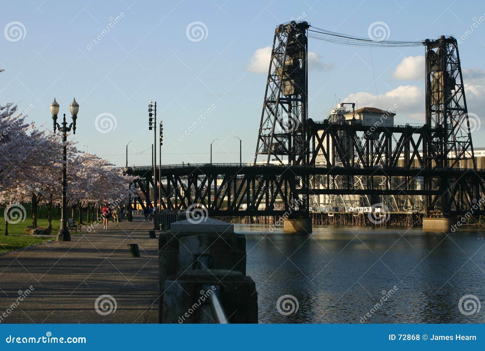 Steel train bridge in Portland.