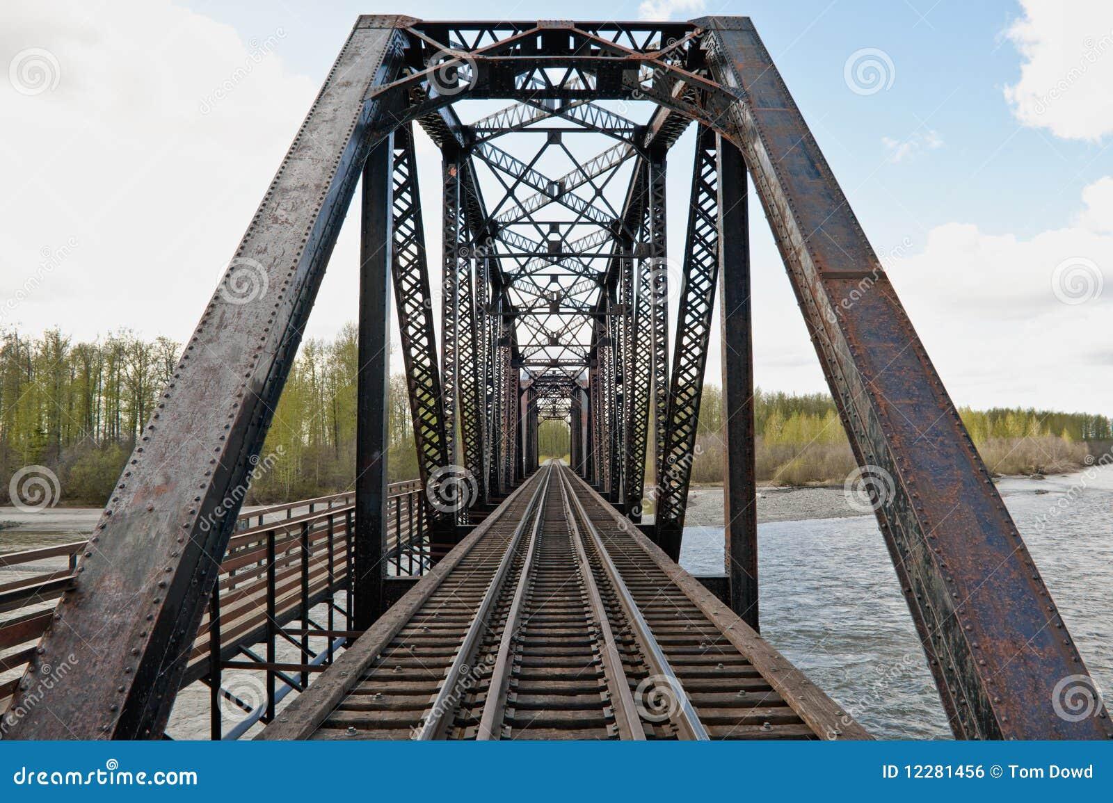 Scenic view of steel trestle railway bridge over Talkeetna river ...