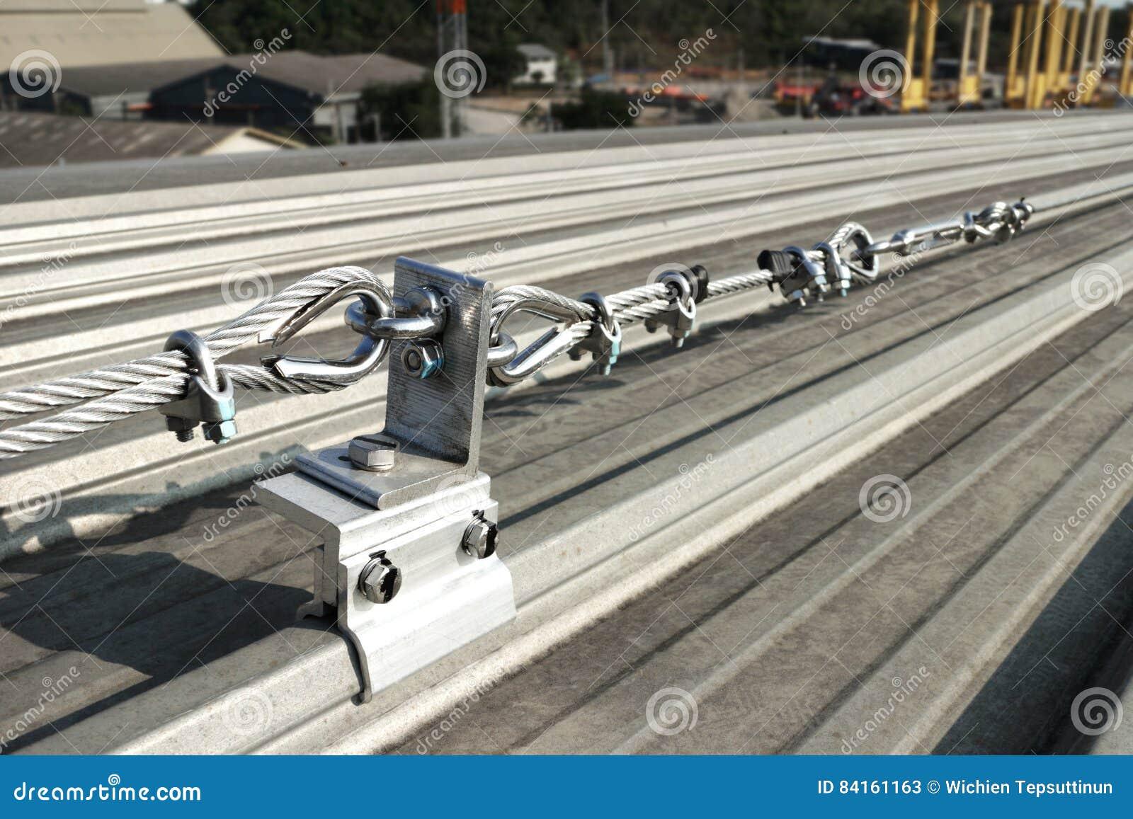 Steel Wire Rope Lifeline On Roof Stock Image - Image of belt ...