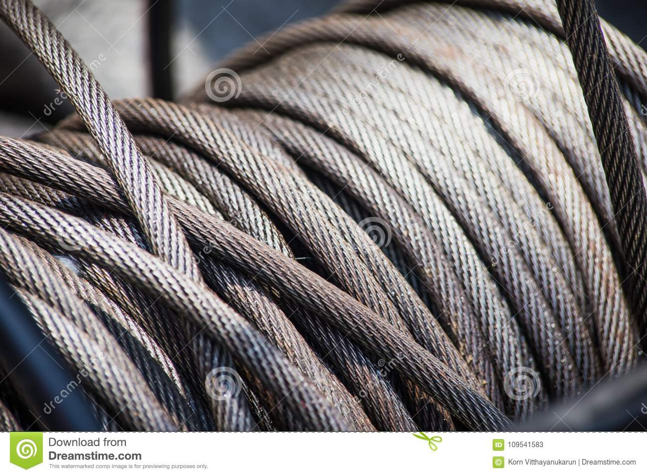 Steel Wire Rope Slings Roll Heavy Duty Grunge Stock Image - Image of ...