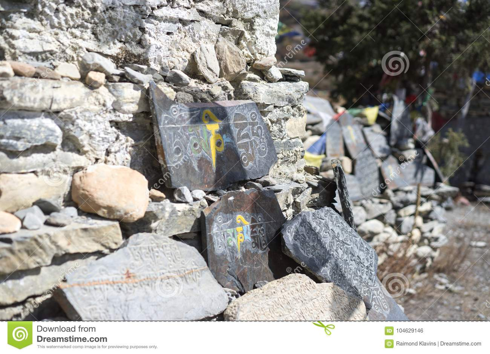 Download Steen Met Tibetian Mantras Tibet Sanscrit Stock Foto - Afbeelding bestaande uit passing, majestic: 104629146