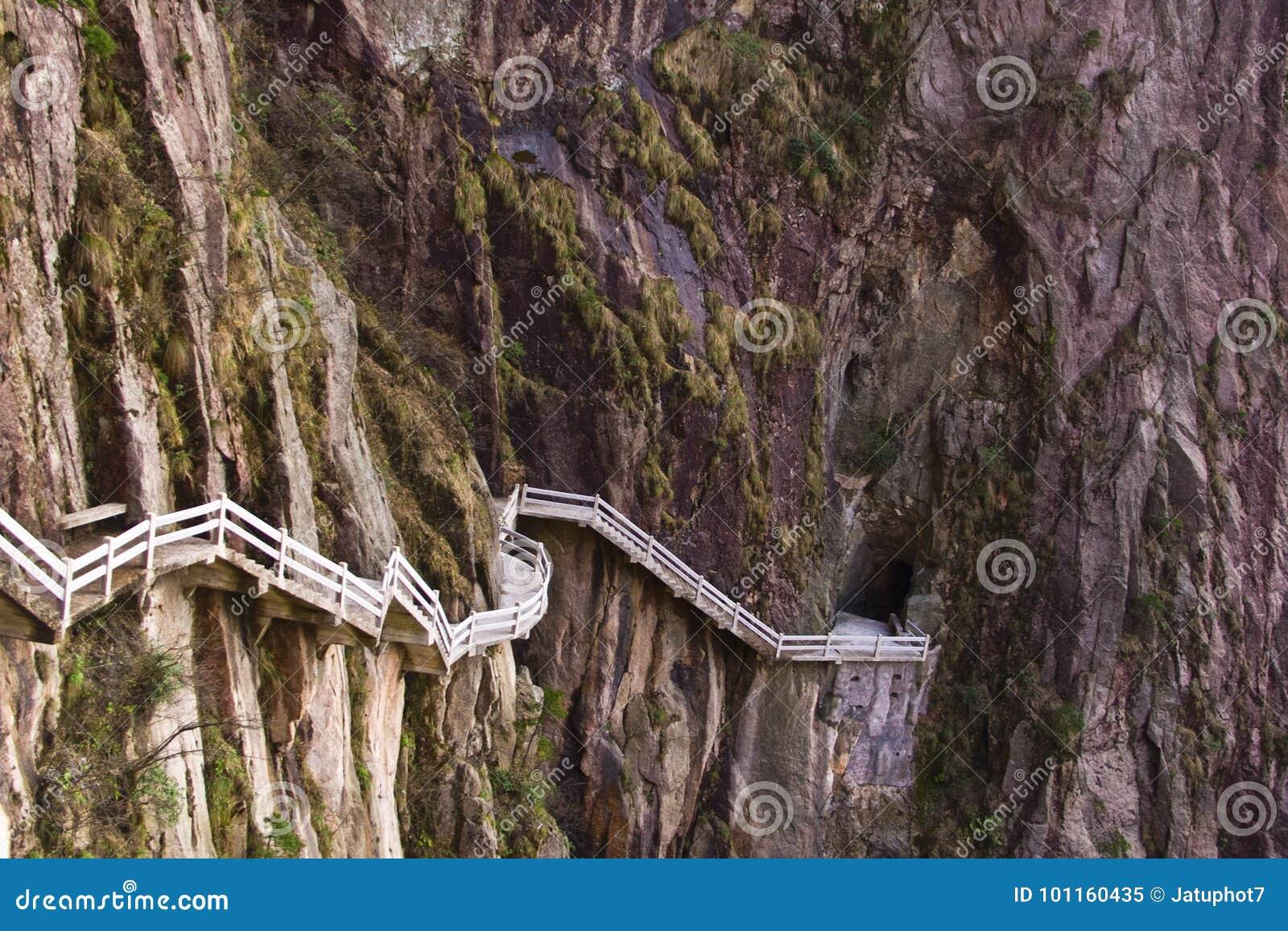 Steen Steile Stappen Trekking het lopen wandelingshuangshan Berg