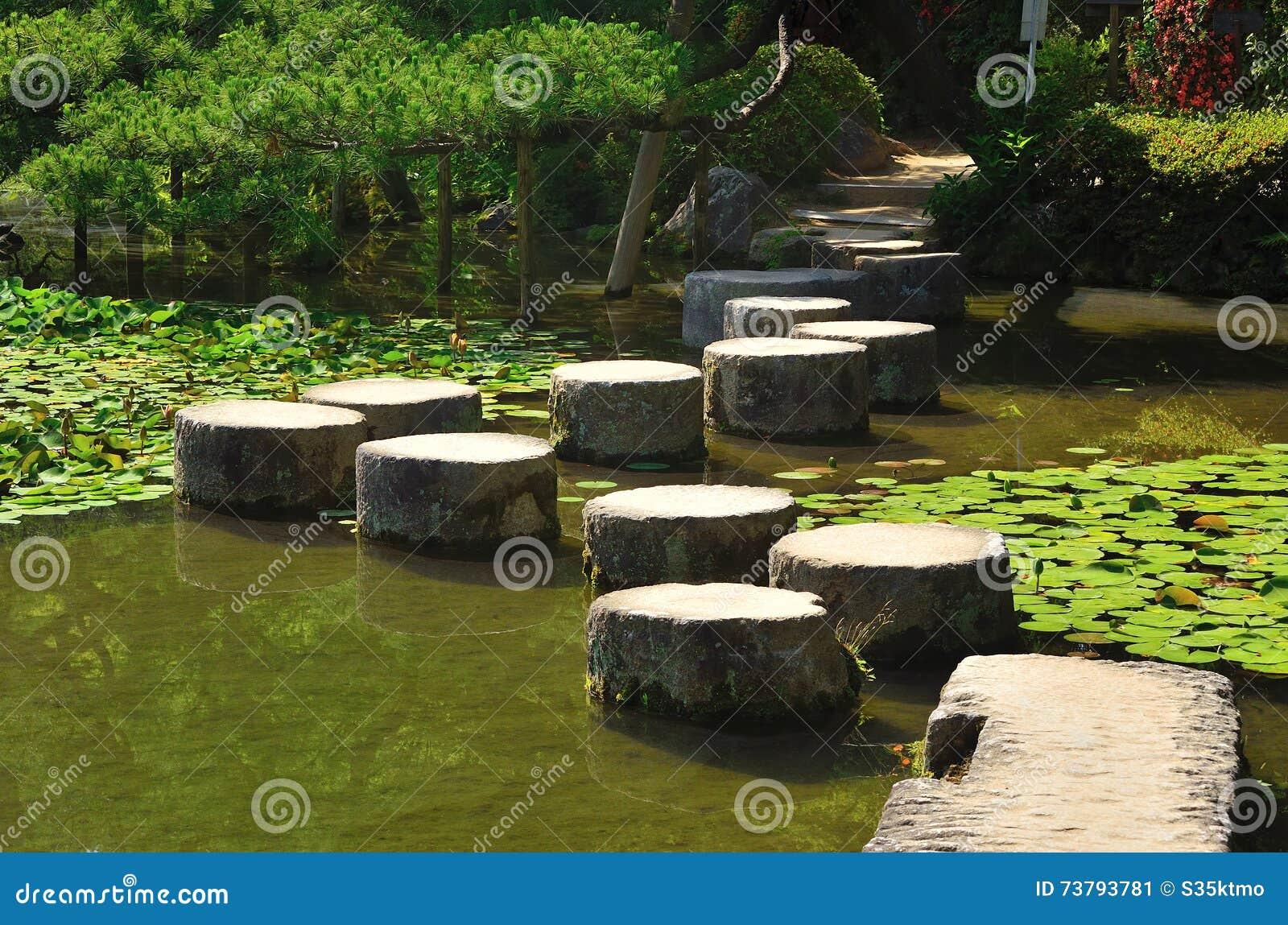 Steenweg van Japanse tuin, Kyoto Japan
