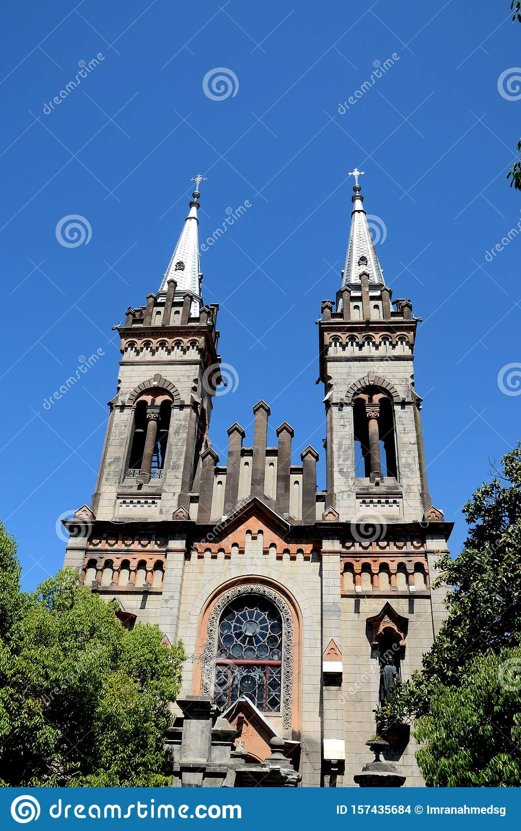 Steeples towers and windows of Gothic church Cathedral of Mother of the God Batumi Georgia