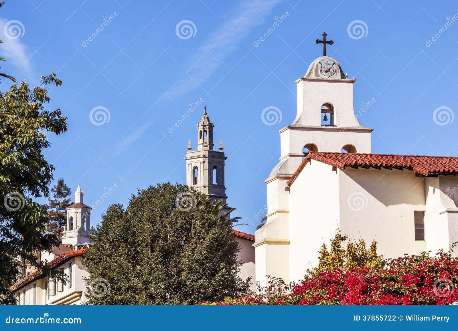 Download Steeples White Adobe Mission Santa Barbara Cross Bell California Stock Photo - Image of history, religion: 37855722