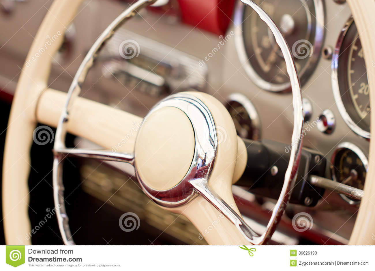 Classic Cars Steering Wheel Royalty Free Stock Photography Image