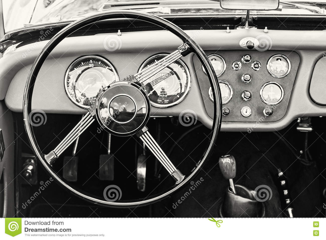 Steering Wheel And Dashboard In Historic Vintage Car Black And Stock Photo Image 77071281