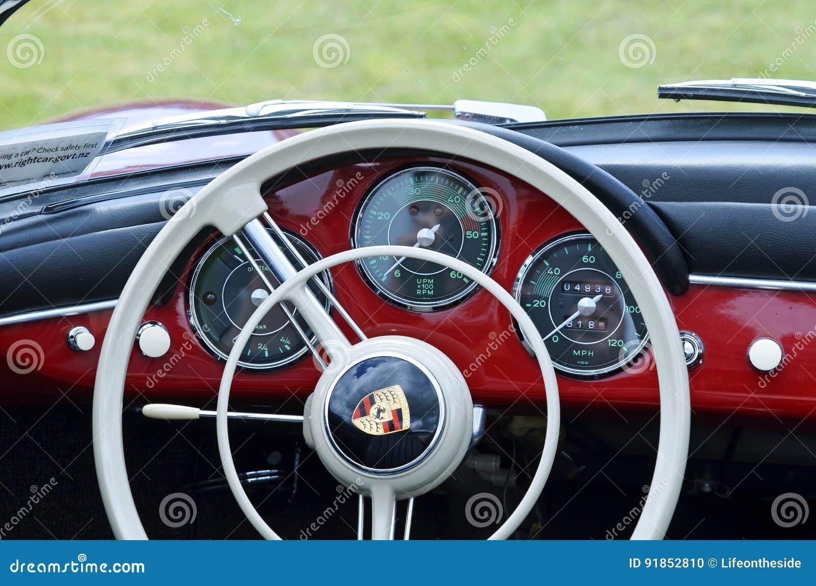Steering Wheel Amp Dashboard Of Red Vintage Retro 1958