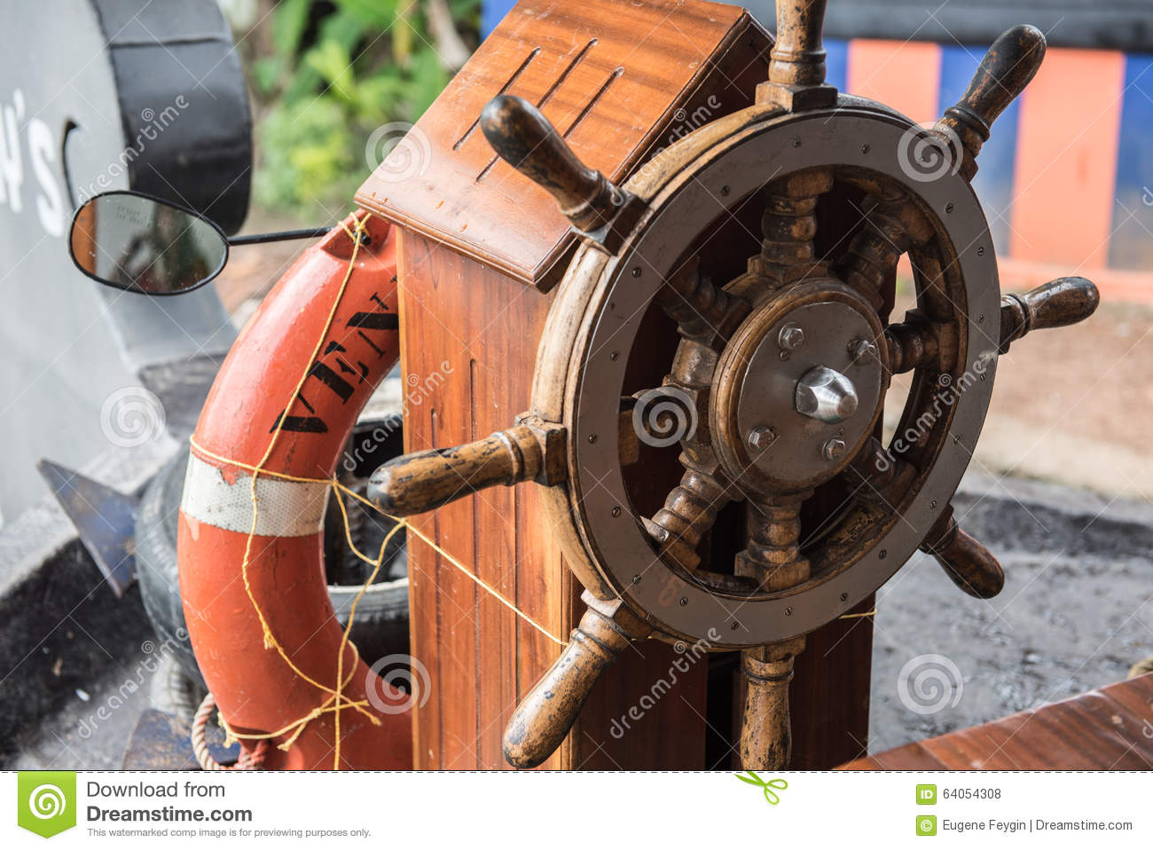 Steering Wheel Of Houseboat Stock Photo Image Of Houseboat