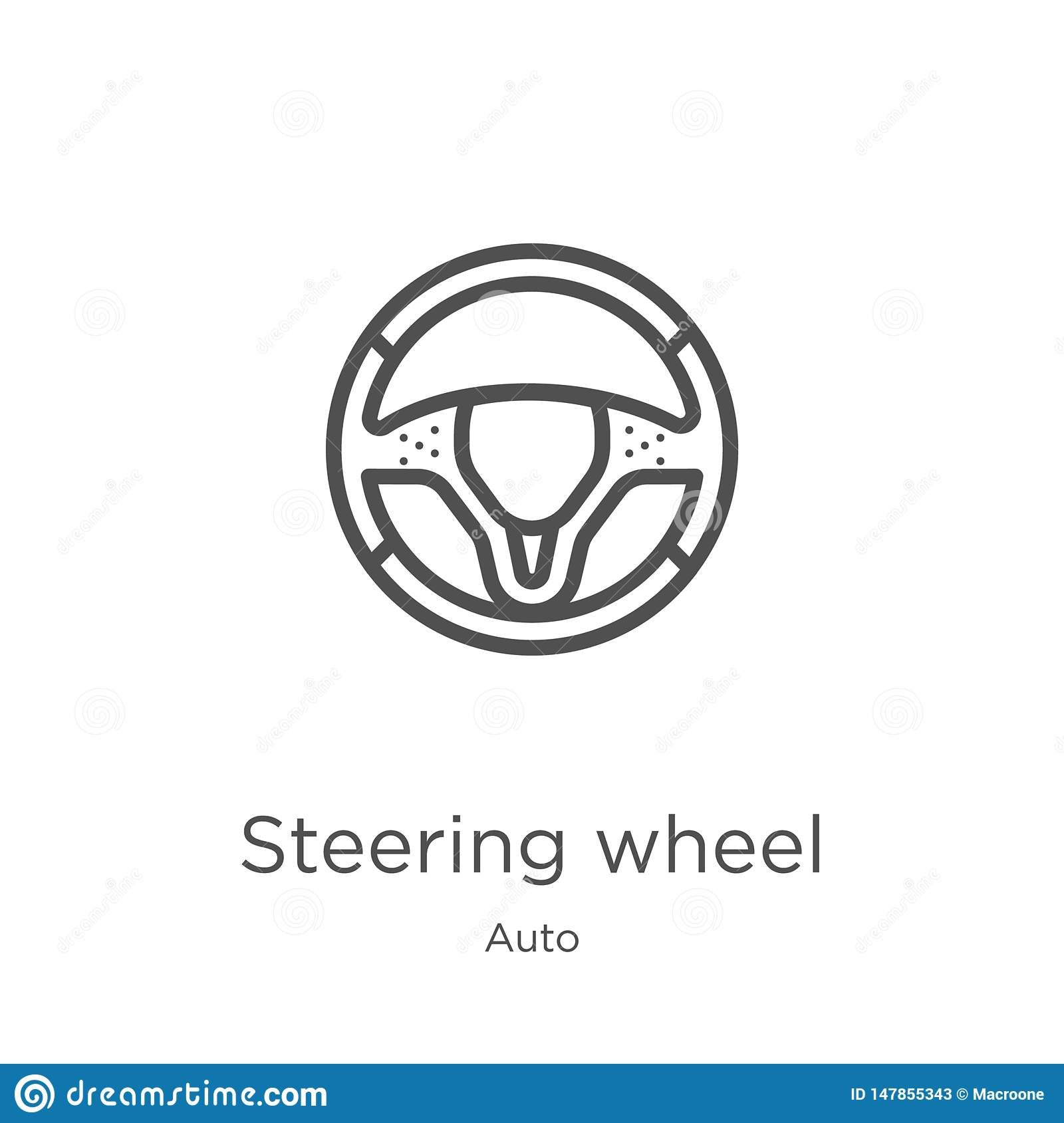 steering wheel icon vector from auto collection. Thin line steering wheel outline icon vector illustration. Outline, thin line