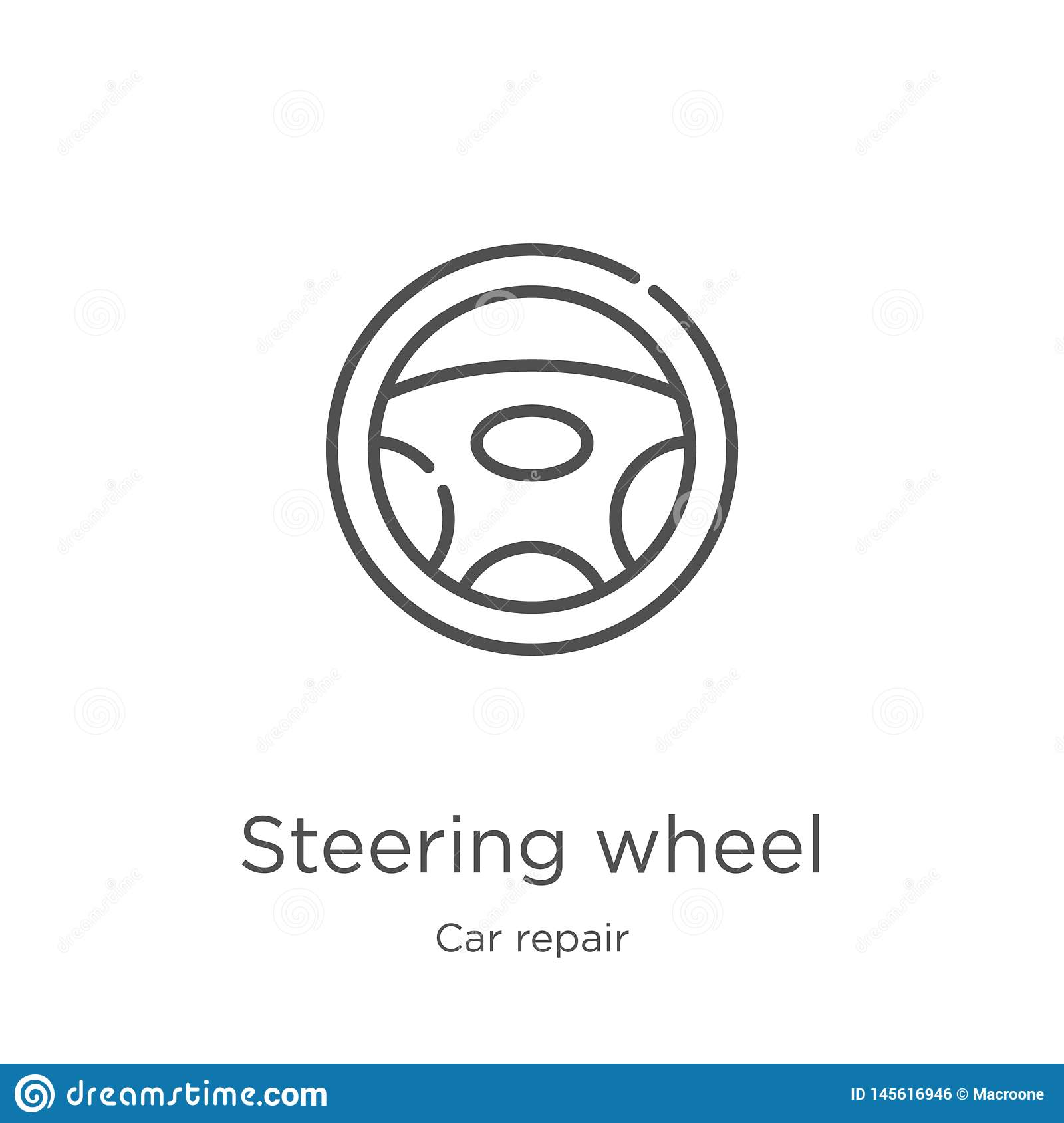 steering wheel icon vector from car repair collection. Thin line steering wheel outline icon vector illustration. Outline, thin