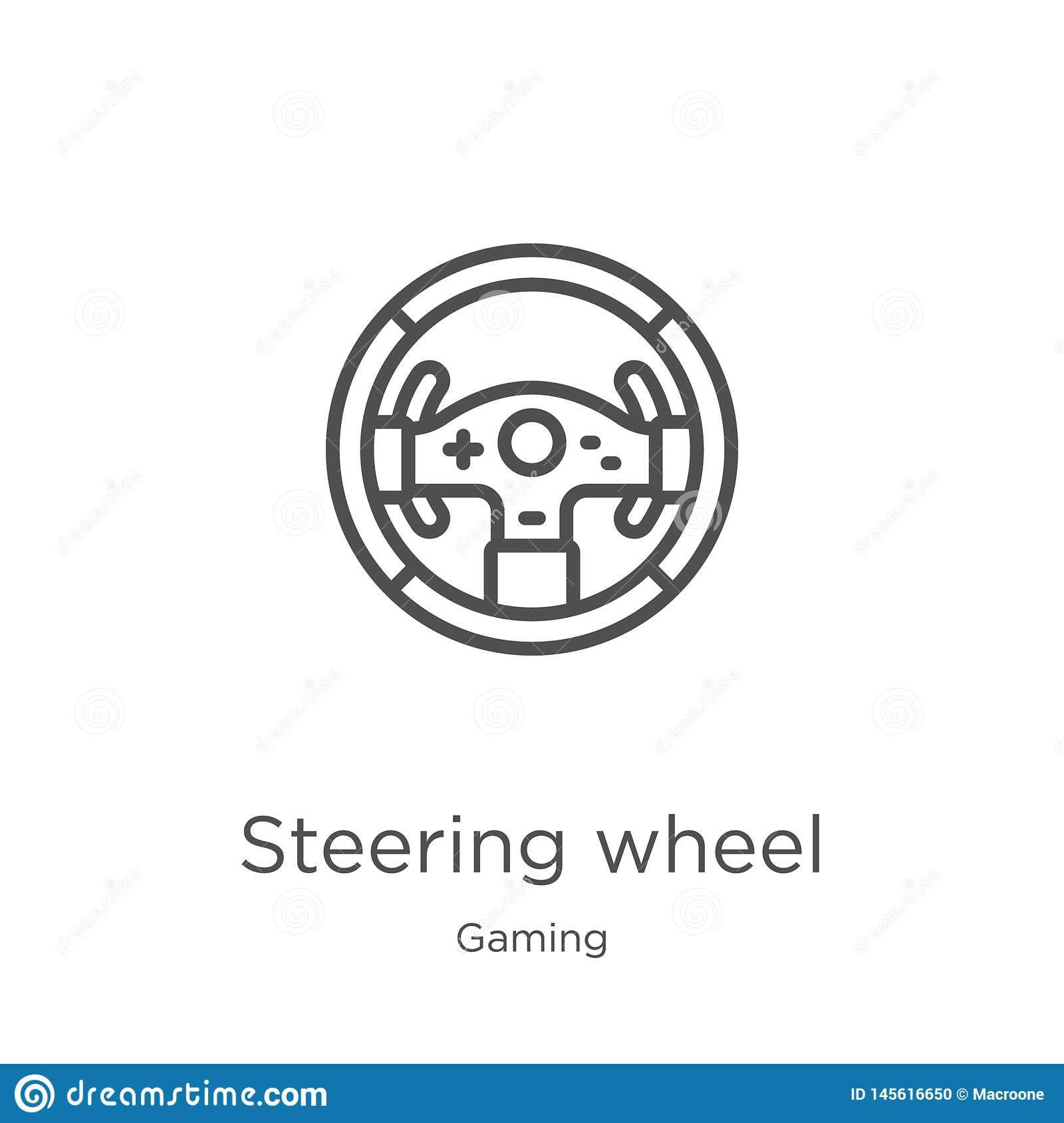 steering wheel icon vector from gaming collection. Thin line steering wheel outline icon vector illustration. Outline, thin line
