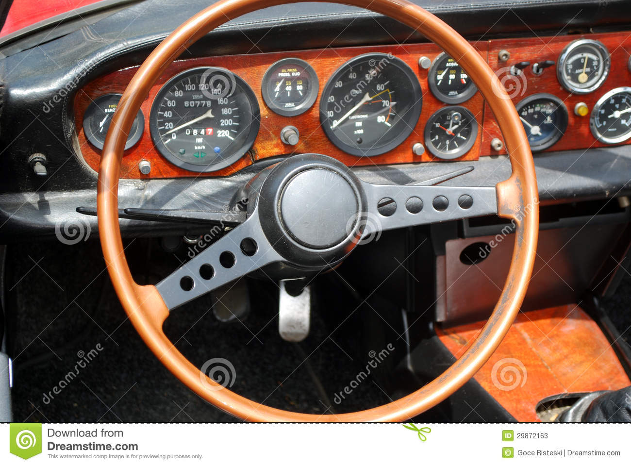 Steering Wheel Interior Of Vintage Car Stock Photos Image