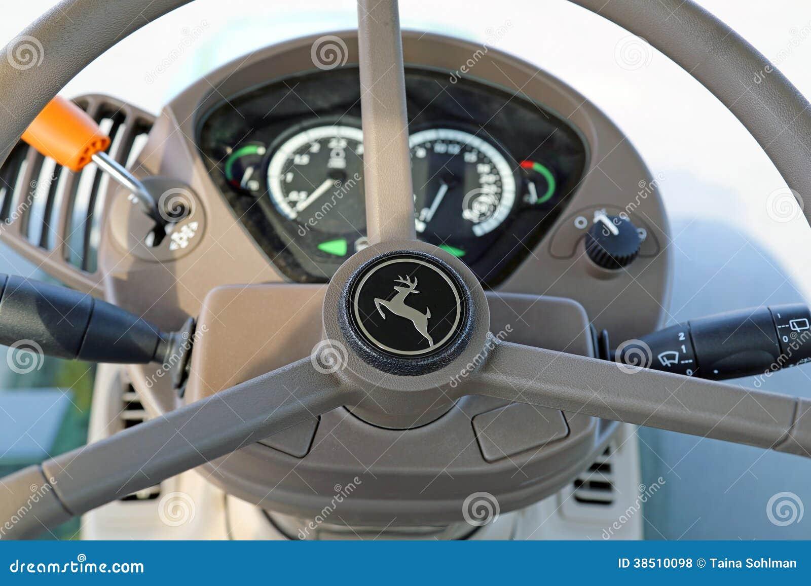 Tractor Steering Wheel Console : Steering wheel of john deere agricultural tractor