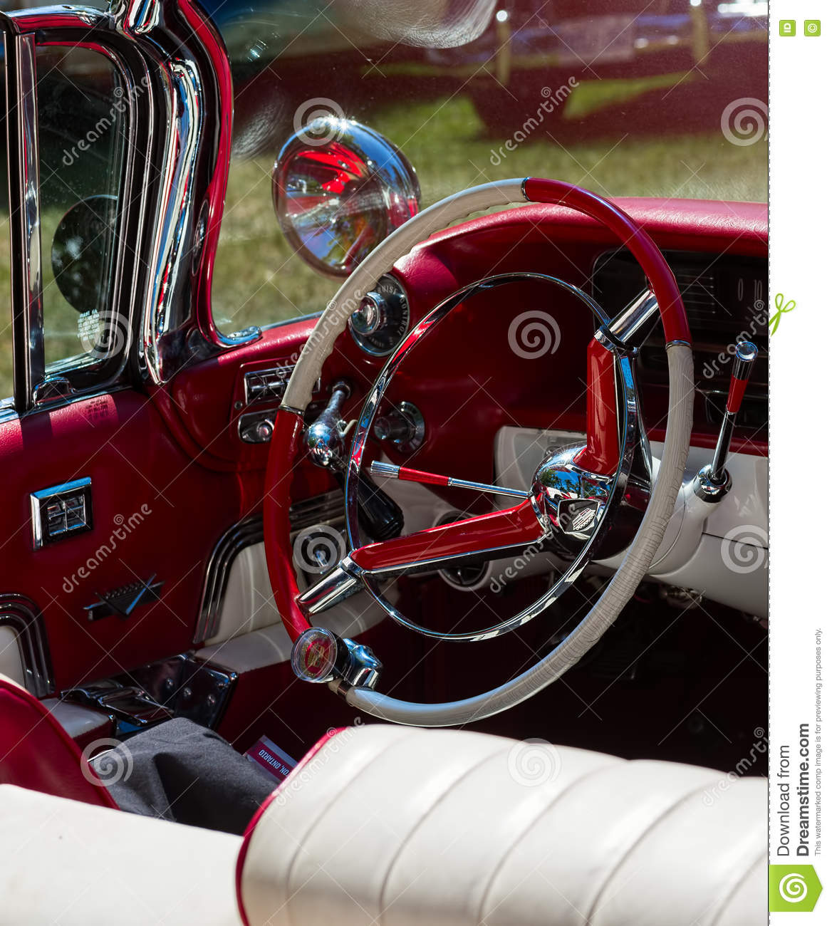 Steering Wheel And A Mirror In An Old Classic Car Stock Photo