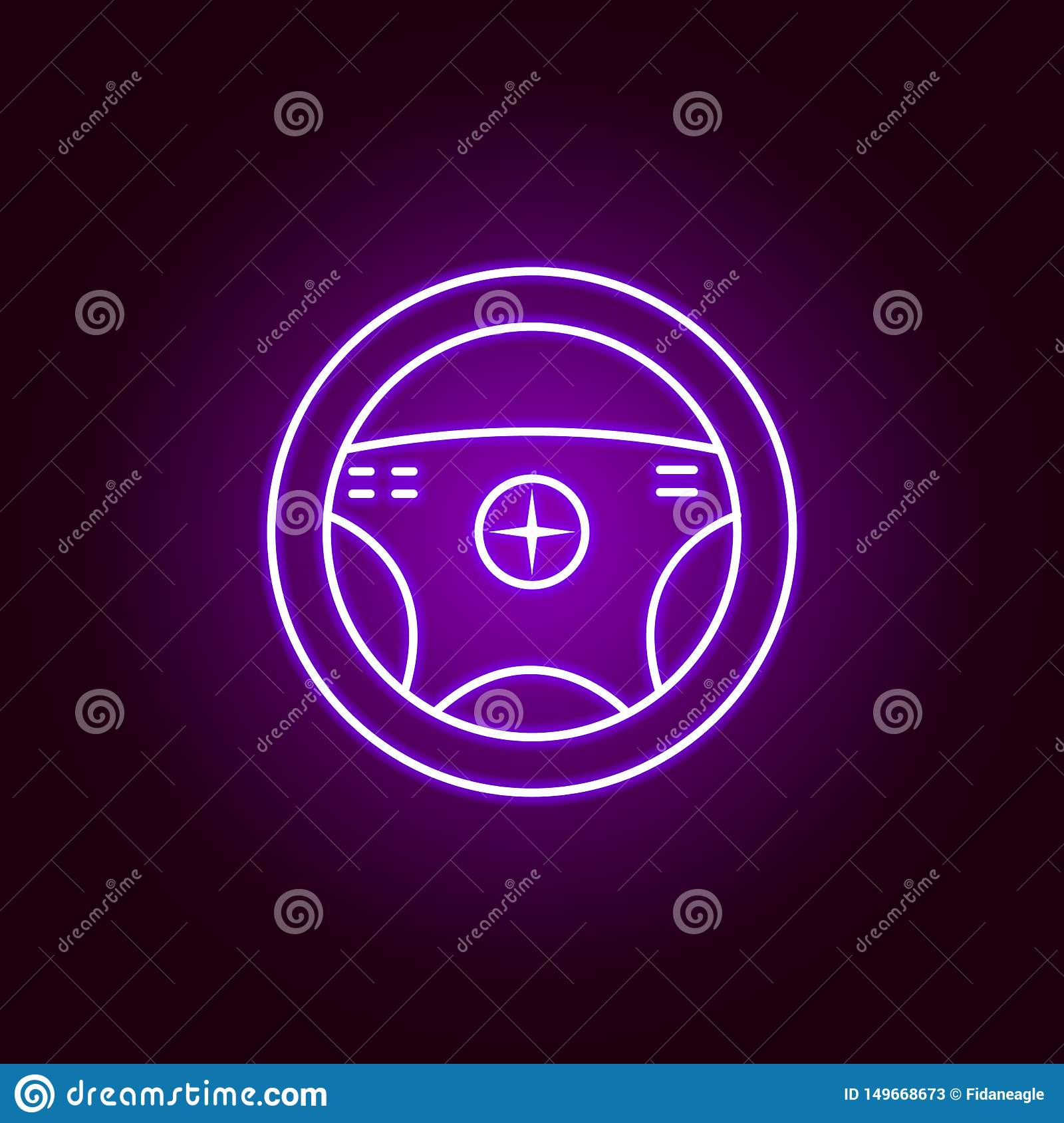 steering wheel outline icon in neon style. Elements of car repair illustration in neon style icon. Signs and symbols can be used