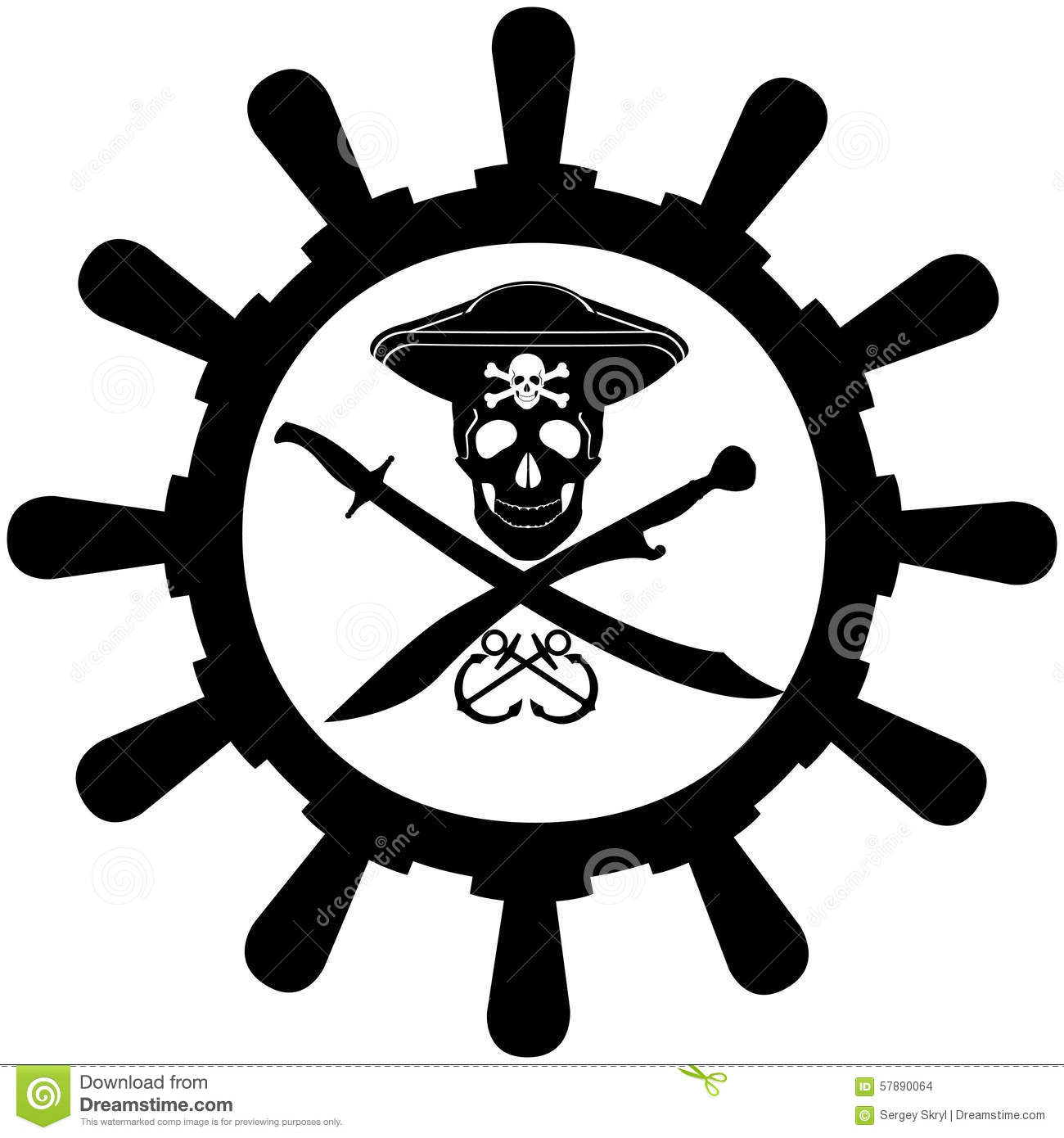 Steering Wheel Of A Pirate Ship Stock Vector Image 57890064