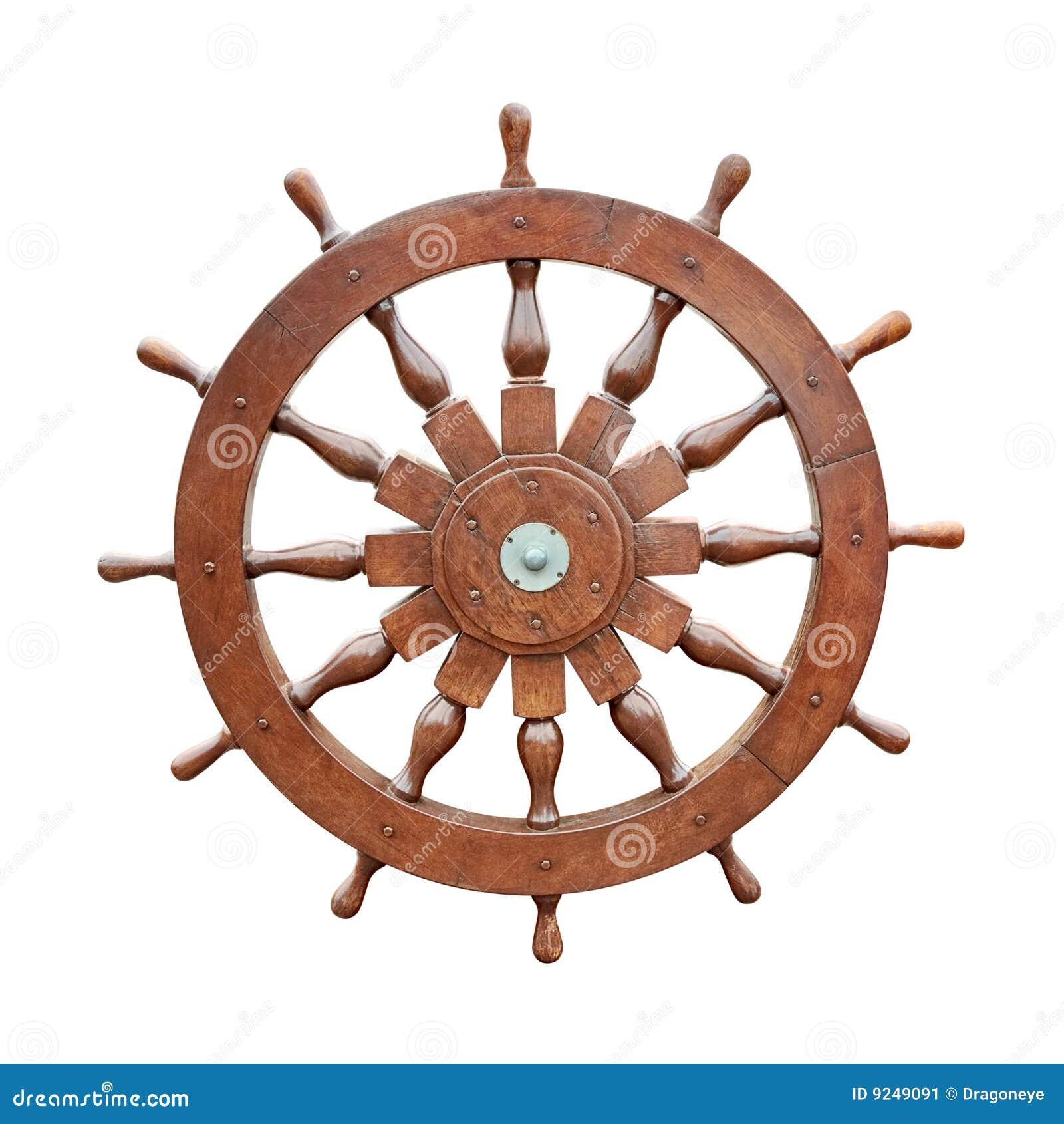 Steering wheel of sailing boat cutout