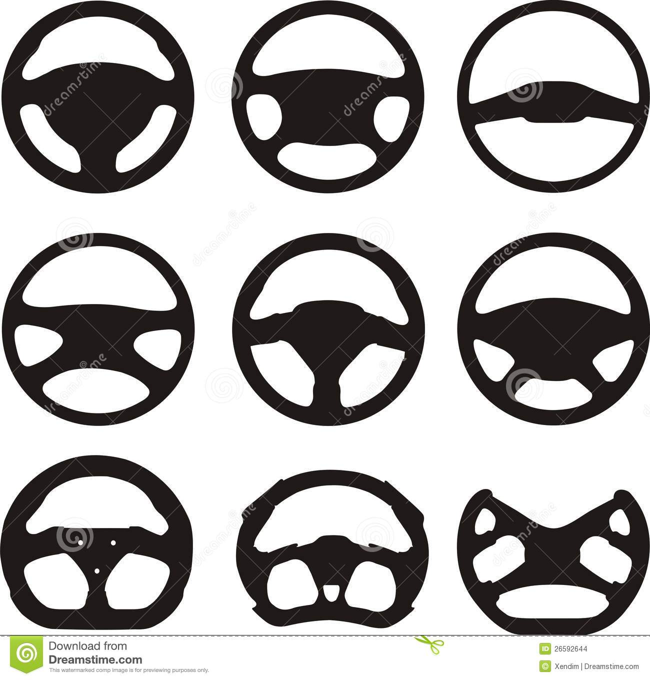 Steering Wheel Silhouettes Stock Vector Image Of Illustrations