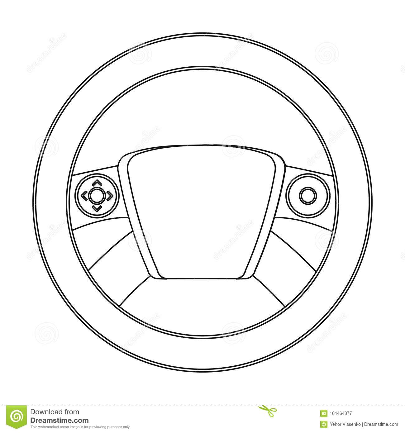 steering wheel single icon in outline style for design car
