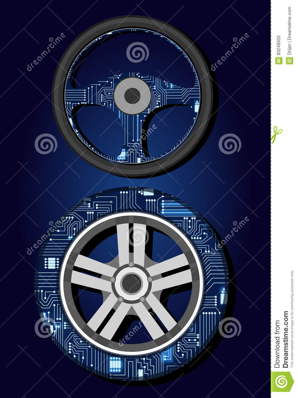 Steering Wheel And Tire With Electronic Circuit Stock Vector Symbols Royalty Free