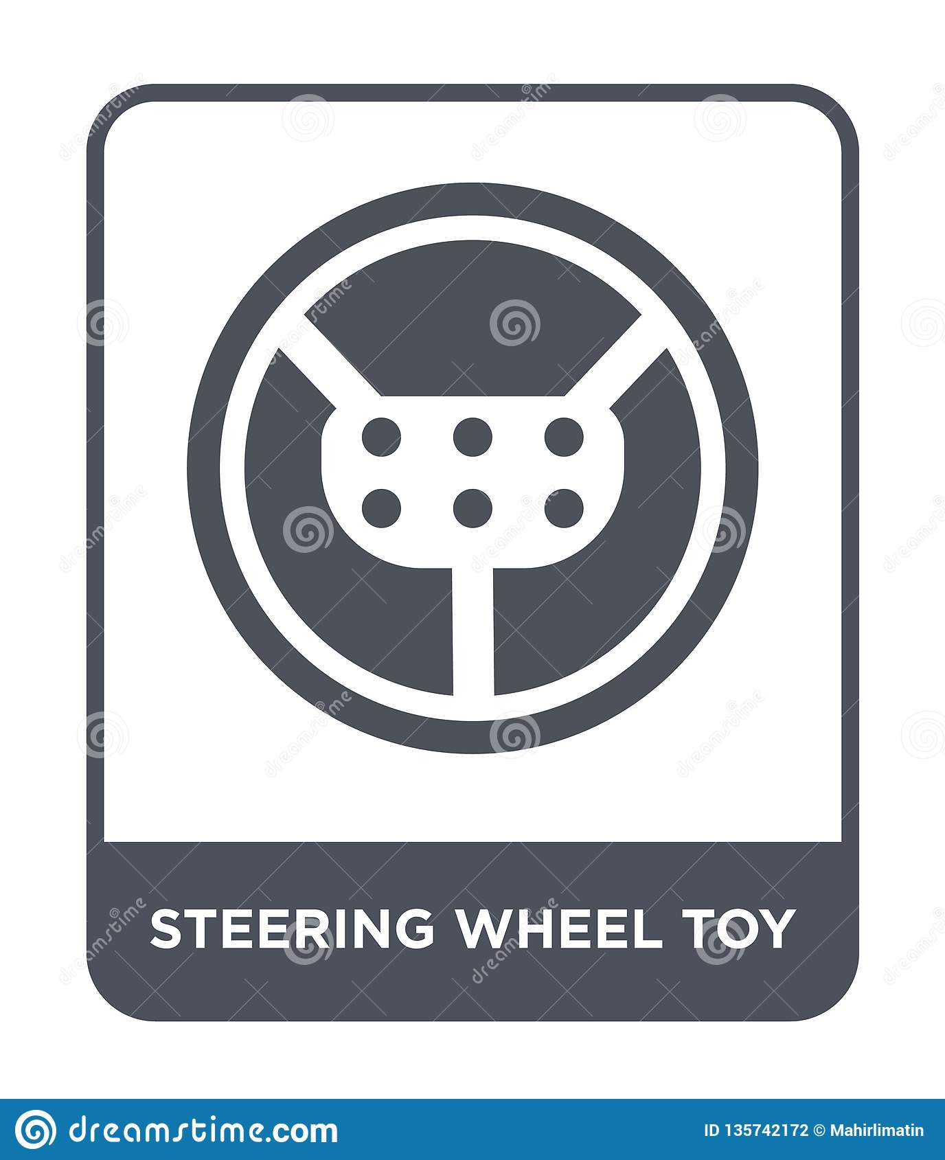 steering wheel toy icon in trendy design style. steering wheel toy icon isolated on white background. steering wheel toy vector