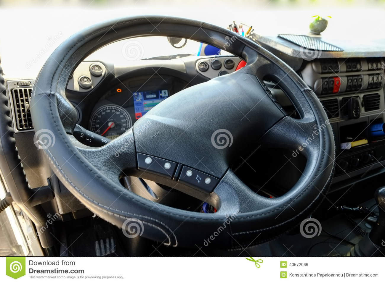 Steering wheel in a truck stock photo  Image of switches - 40572066