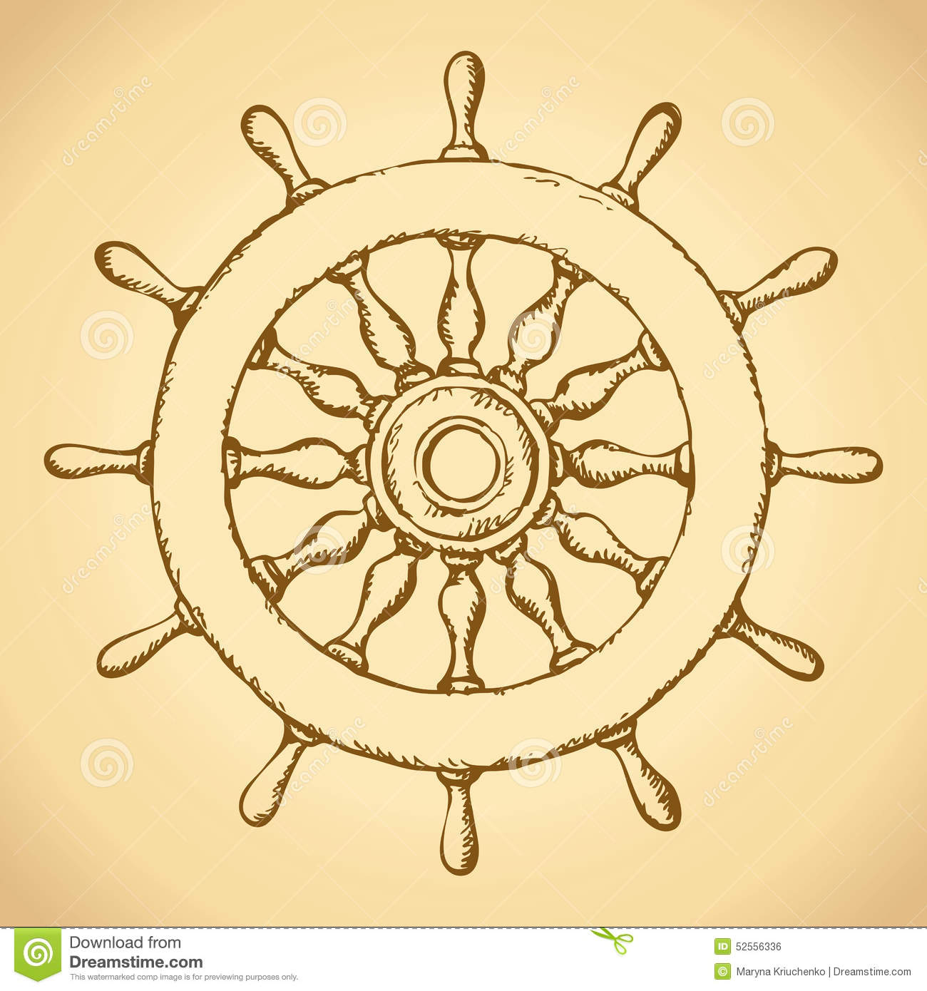 Steering Wheel Vector Drawing Stock
