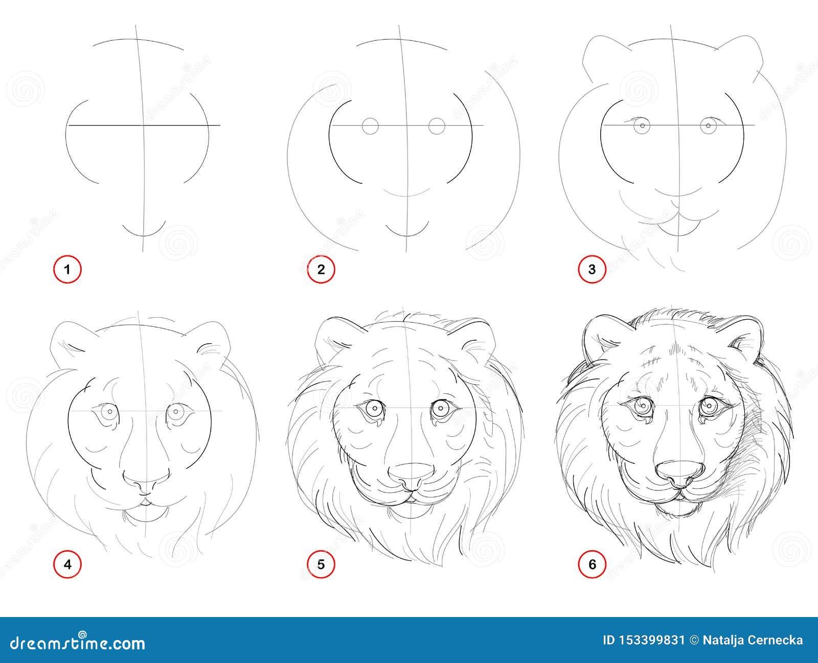 Steg-för-steg blyertspennateckning för skapelse Sidan visar hur man lär attraktion för att skissa av det imaginära gulliga tigerh