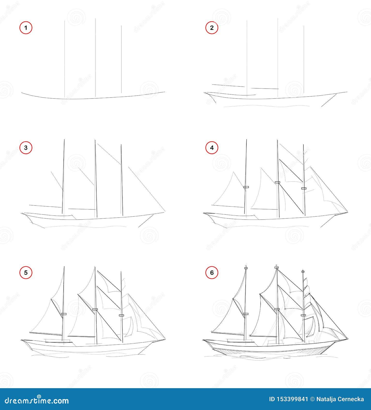 Steg-för-steg blyertspennateckning för skapelse Sidan visar hur man lär attraktion för att skissa av det imaginära tre-masted seg
