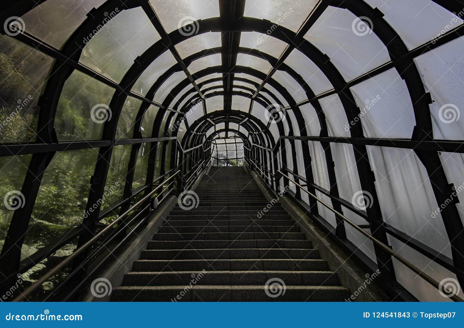 Stege upp berget i tunnel