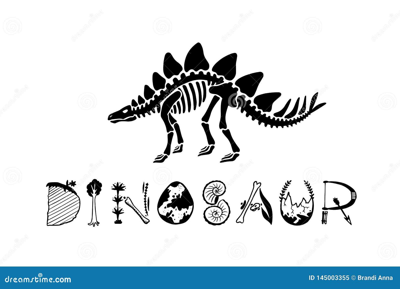 Stegosauro di scheletro del dinosauro del Logotype isolato su fondo bianco