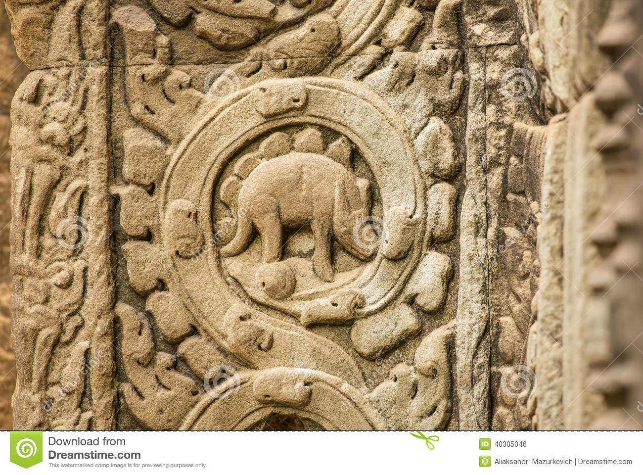 Stegosaurus bas relief on the wall of ta prohm temple