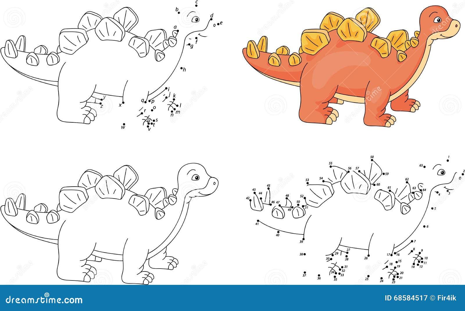 Stegosaurus De Dessin Anime Livre De Coloriage Et Point Pour