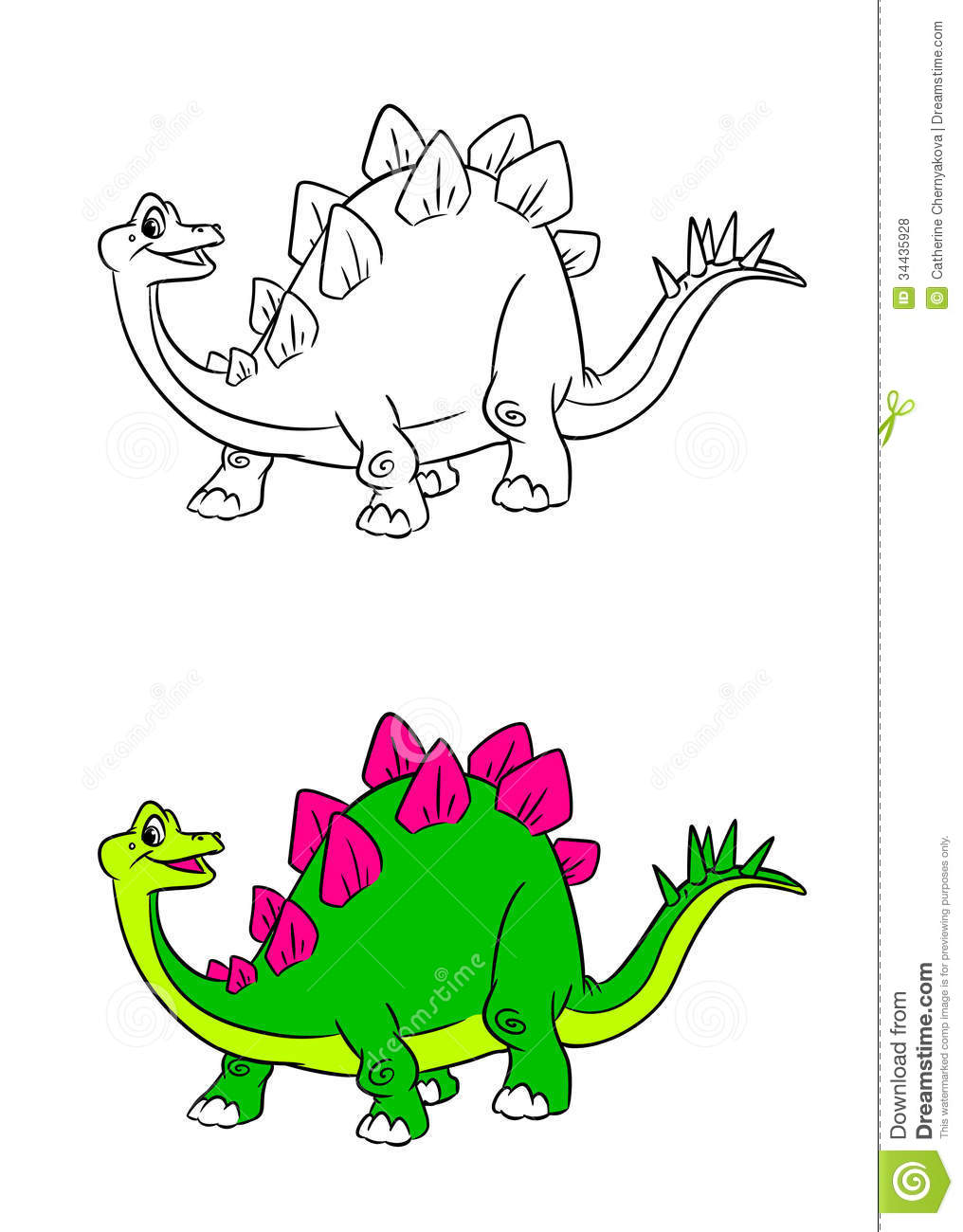 stegosaurus dinosaur cartoon coloring pages royalty free stock