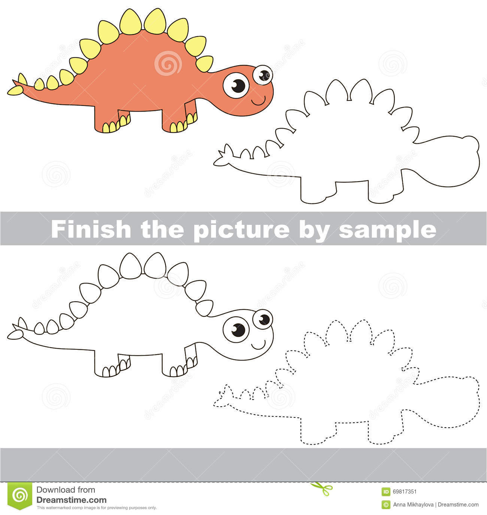 Stegosaurus Drawing Worksheet Stock Vector Illustration Of Skill