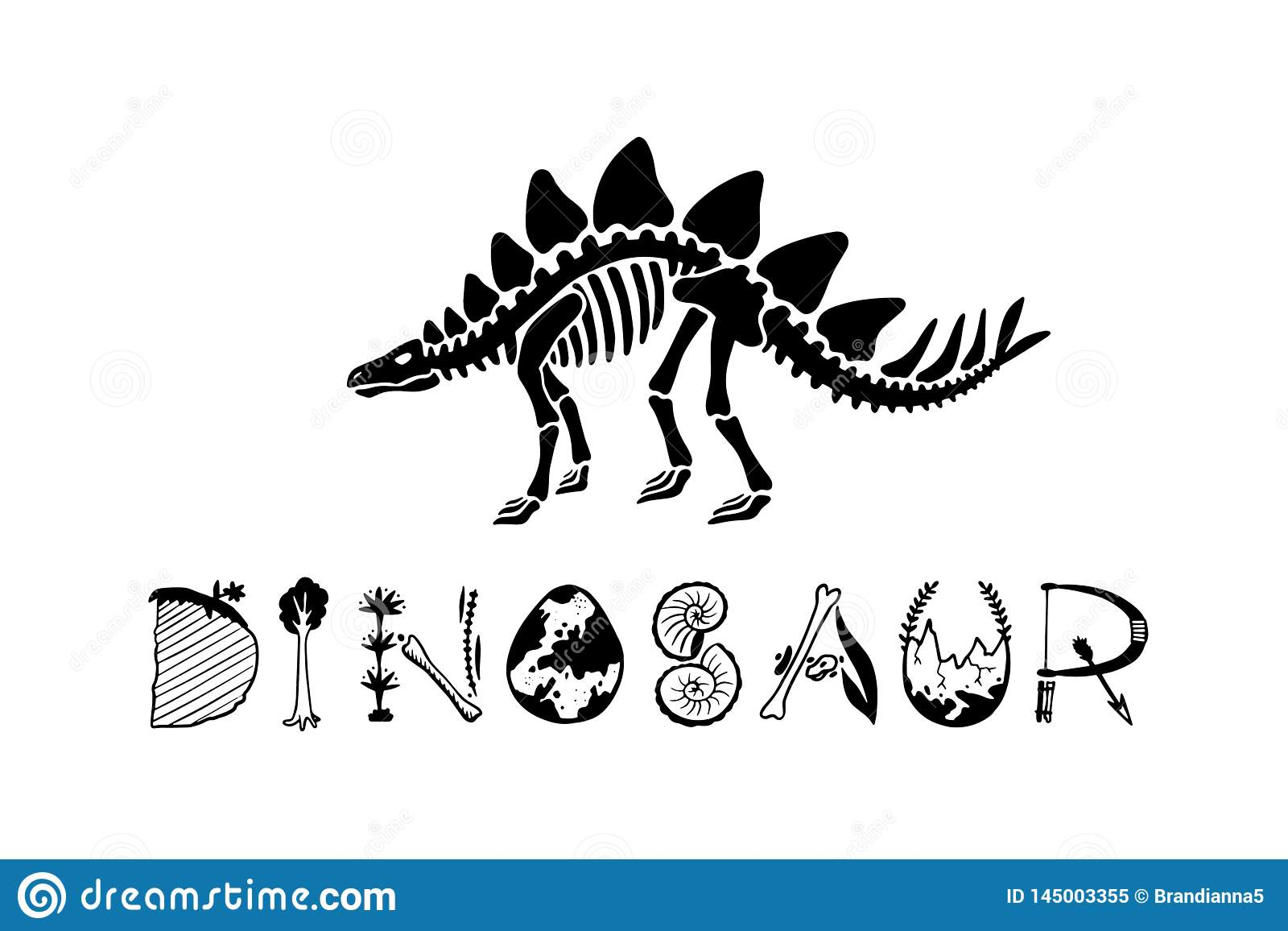 Stegosaurus esquel?tico del dinosaurio del logotipo aislado en el fondo blanco