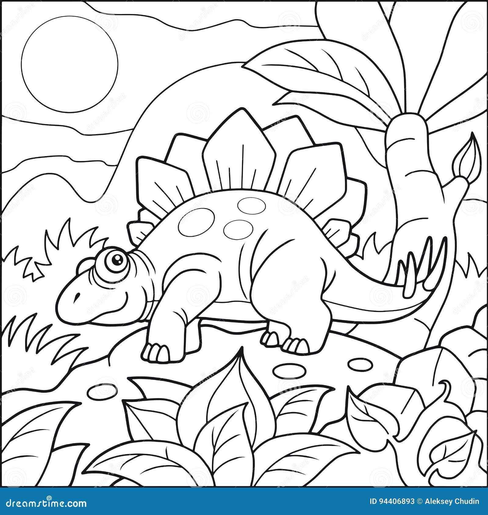 Stegosaurus Mignon Livre De Coloriage Illustration De Vecteur