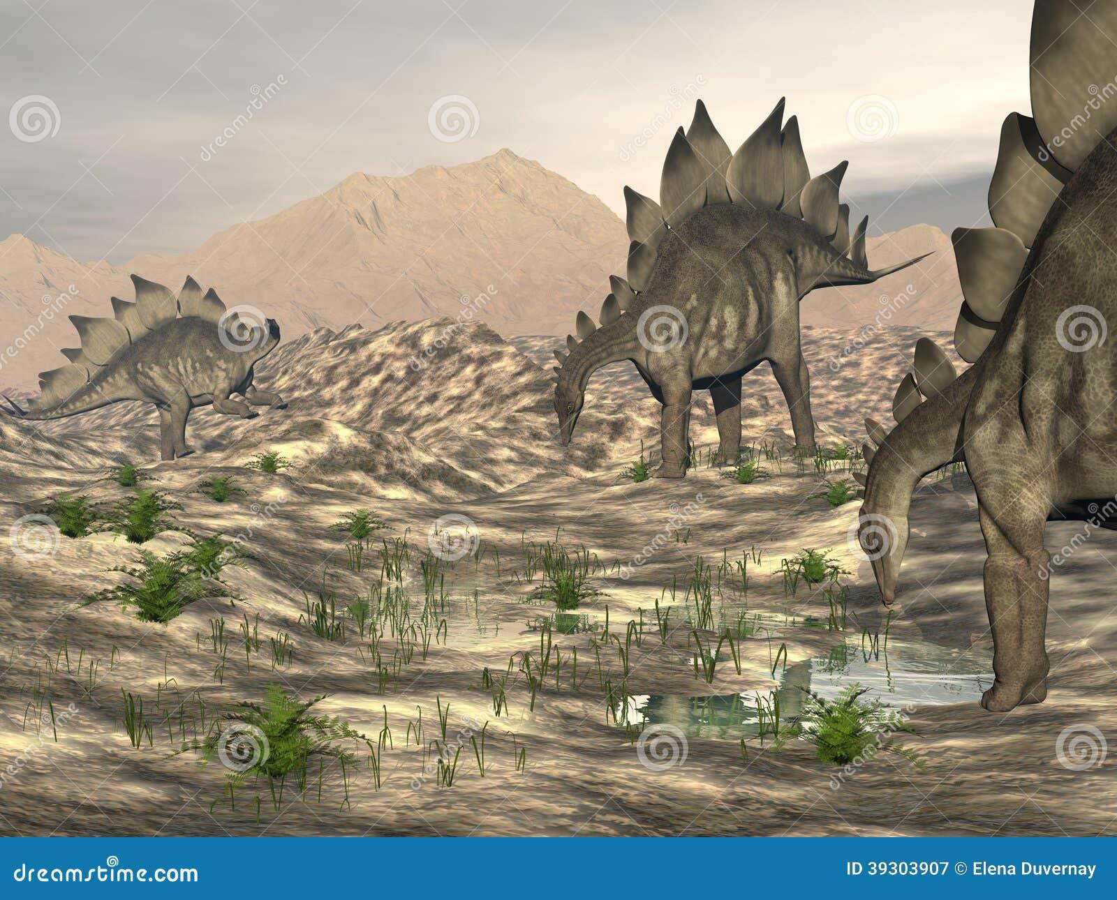 Stegosaurus près de l eau - 3D rendent