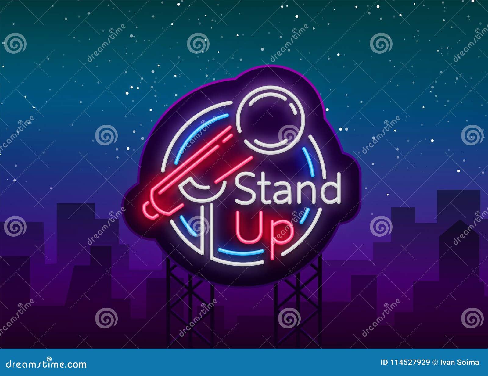 Stehen Sie oben Komödie ist eine Leuchtreklame Neonlogo, Symbol, helle leuchtende Fahne, Neon-Ähnliches Plakat, helle Nachtzeit
