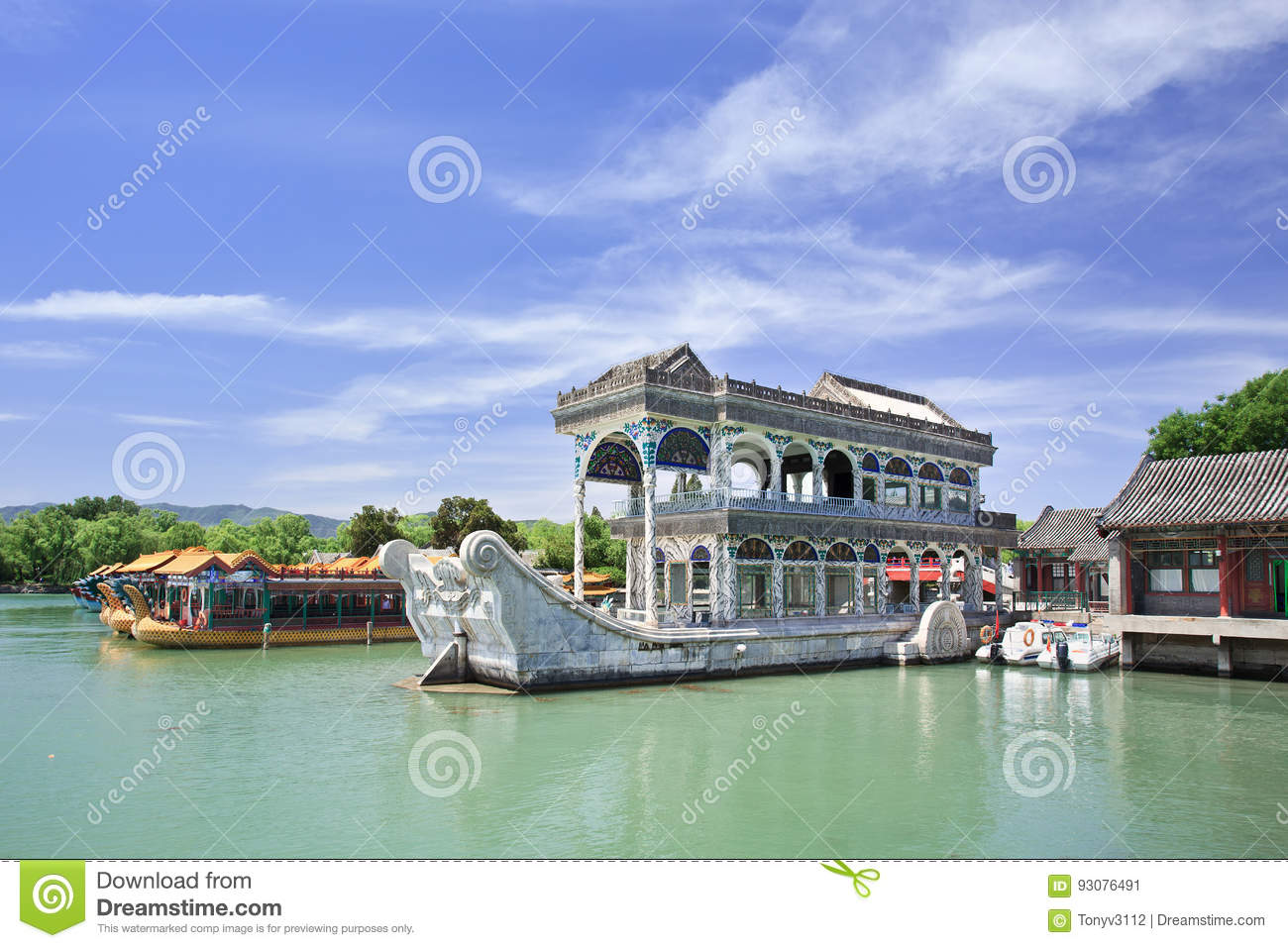 Steinboot am Kunming See, Sommer-Palast, Peking, China