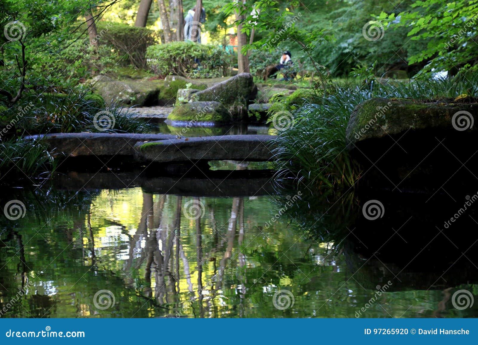 Steinbrücke im Teich
