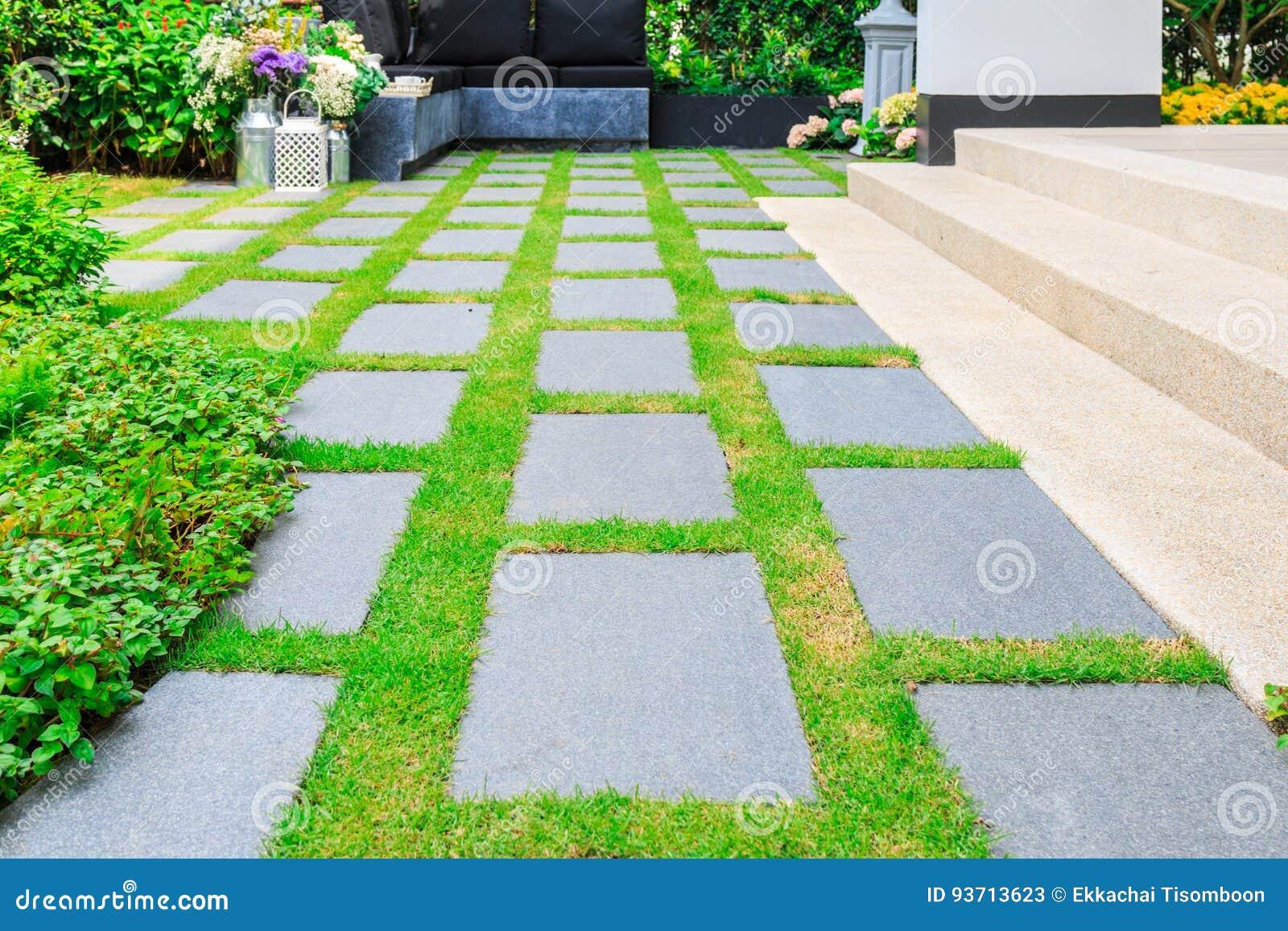 steinplatten auf dem gras im garten stockbild - bild von garten