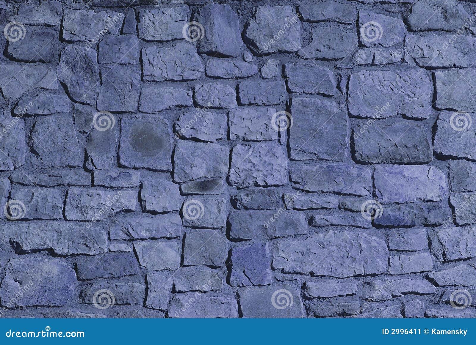 Steinwand. Blaue Farbe